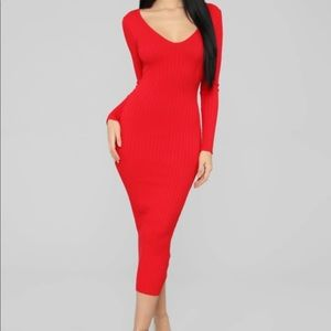 KALLAN KNIT RED DRESS -